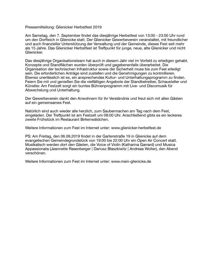 Pressemitteilung Glienicker Herbstfest 2019