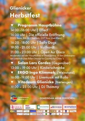Glienicker Herbstfest 2019 Bühnen-Programm (A3 Plakat)