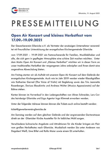 Pressemitteilung: Glienicker Herbstfest 2021 (210818)