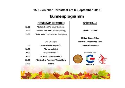Das Bühnenprogramm vom Glienicker Herbstfest 2018