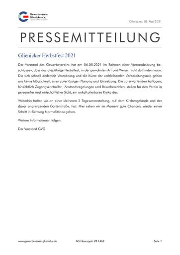 Pressemitteilung: Glienicker Herbstfest 2021(210518)