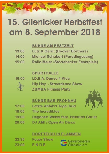 Glienicker Herbstfest 2018 Programm (Plakat A3)